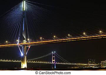bridges in Hong Kong at night, Ting Kau Bridge and Tsing ma...