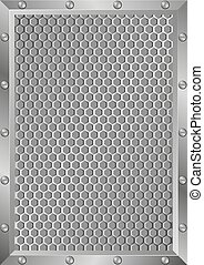 grille background with metal frame