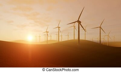 Rotating wind turbines at sunset - Rural landscape with...
