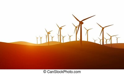 Wind turbines on white background - Decorative landscape...