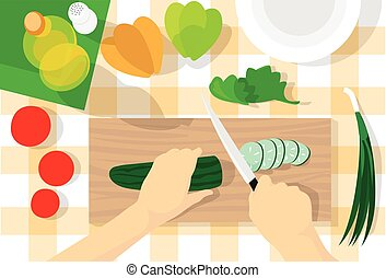 Cooking Process Table Kitchen Chopping Cucumber Vegetables...