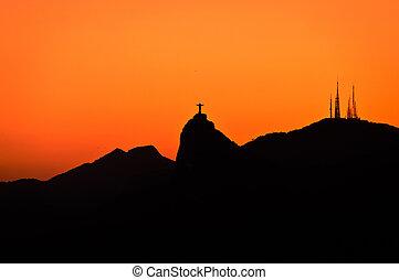 Rio de Janeiro Mountain Silhouette - Rio de Janeiro...