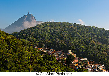 Corcovado and Slums - Rio de Janeiro Mountains with Slums...