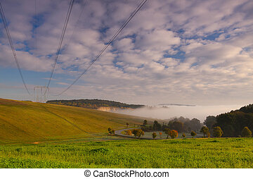 Empty fields in the autumn morning - Uncultivated fields in...