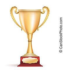 Golden trophy cup award on white. Vector