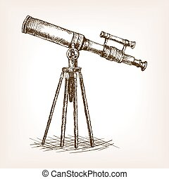 Old telescope hand drawn sketch vector - Old telescope pop...