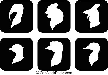 Farm icon birds heads set on black background - Vector...