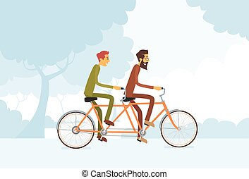 Two Casual Man Riding Tandem Bicycle Flat