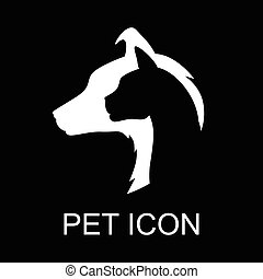 Cat and dog silhouette icon on black background