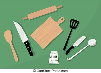 Cooking Utensils, Kitchen Equipment Knife, Spoon, Board