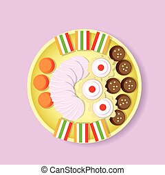 Plate With Sweets Candy, Biscuit, Fruit Jelly, Zephyr Top...