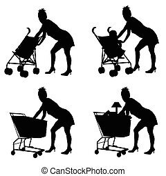woman with baby and shoping basket illustration silhouette