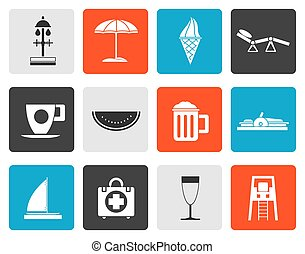 Flat beach and holiday icons