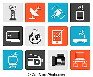 technology icons - Flat communication and technology icons -...
