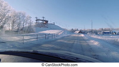 The entrance to the ski resort by car