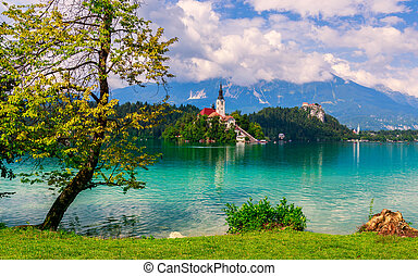 Bled lake summer - Bled with lake, island and mountains in...