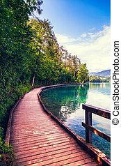 Wooden walkway around the lake Bled- Slovenija