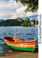 Boats at the pier of Lake Bled, Slovenia