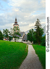 Church of St John the Baptist in Ribchev Laz village Bohinj...