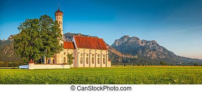 Famous St. Coloman church near Fussen at sunset, Bavaria,...