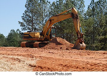 Construction site - backhoe at construction site in Georgia.
