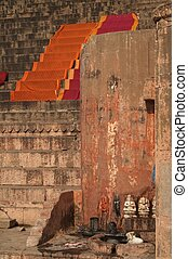 Ghats At Varanasi - Religious shrine on ghats with saris...