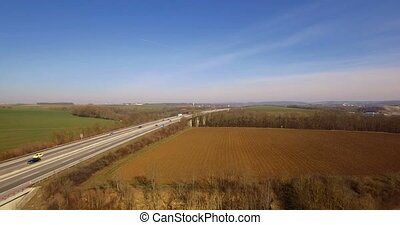 4K Aerial, Flight along a bridge - Shot is additionally...