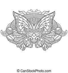 Zentangle stylized carnaval mask - Zentangle stylized...