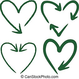 set of heart shaped arrow