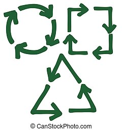 set of recycle arrow - doodle freehand set of recycle arrow,...