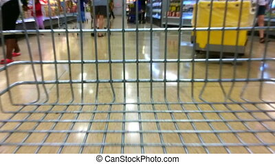 Time lapse of a supermarket trolley during fast shopping....