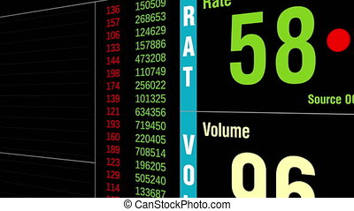 Fictional stock ticker. Dynamic graph and values. -...