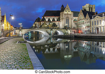 Quay Graslei and St Michael Bridge at night, Ghent - Quay...