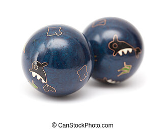pair of blue Chinese meditation balls isolated on white...