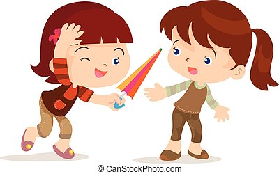 girl give umbrella friend - vecto cartoon of cute girl share...