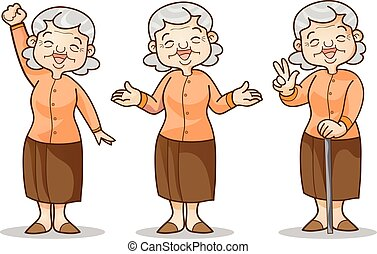 old woman cartoon character set - Funny illustration of old...