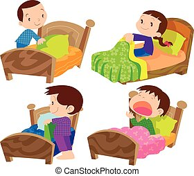 children and bed - Vector of Children and bed on everyday...