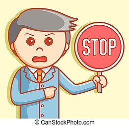 Business man stop sign