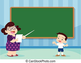 teacher and studen - Students answer questions teacher front...