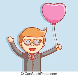 Business man with love balloon