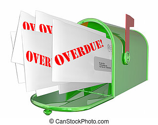Overdue Bill Letter Invoice Message Mailbox 3D