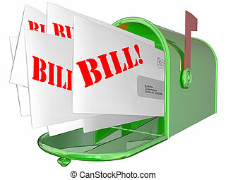 Bill Invoice Letter Payment Due Mailbox 3D