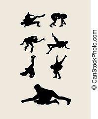 Wrestler Sport Silhouettes - Wrestling Silhouettes, art...