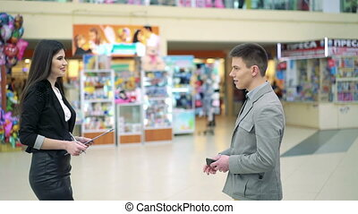 Business lady meeting with customer in trade center full HD