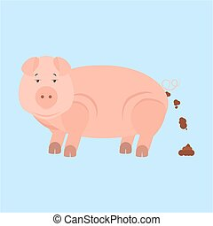 Pig shitting - Pig pooping Isolated Blue background