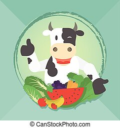 Vegan cow and vegetables - Happy cow presenting vegetables...
