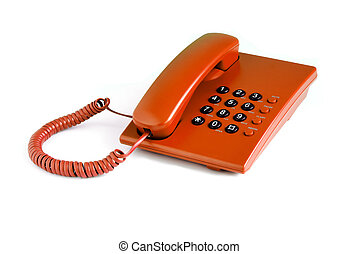 Orange office phone on a white background