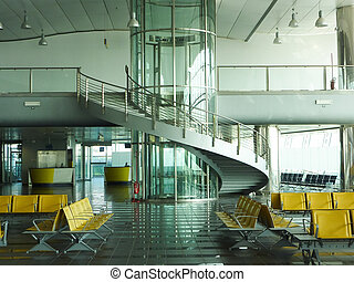 Airport waiting - A departure gate at a large international...