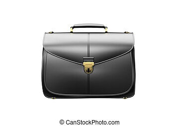 Briefcase isolated on white - Closeup of fashionable leather...