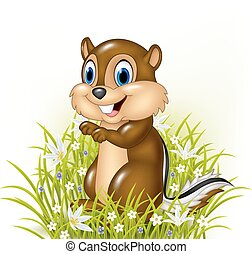 Cartoon chipmunks on grass - Vector illustration of Cartoon...